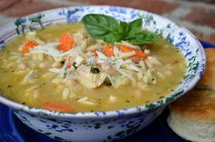 Basil Chicken Soup {with Orzo & White Beans} @lelderpins