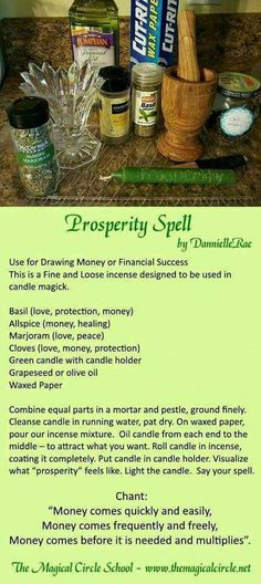 Prosperity Spell - Candle Magick - Kitchen Witch - by DannielleRae - The Magical Circle School www.