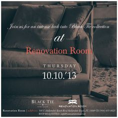 Invite to the Black Tie Collection Cocktail Event at Renovation Room