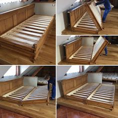 village style, folding double bed – diy home decor wood Folding Double Bed, Folding Beds, Diy Double Bed, Diy Pallet Furniture, Home Furniture, Furniture Design, Furniture Village, Furniture Outlet, Discount Furniture