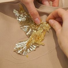 Golden pigeon find his home #suvorovafashion #suvorovadesign #sewing #fashion #fashionblogger #outfit #designerclothes #madeintallinn #madeinestonia #embroidery #embroideryart #beading #beads #embellishment #lunevilleembroidery #tambourbeading #sequins #handmade