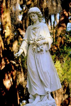 Plan a trip to Savannah and get travel tips about Bonaventure Cemetery: Night Tours. Cemetery Angels, Cemetery Statues, Cemetery Headstones, Old Cemeteries, Cemetery Art, Angel Statues, Graveyards, Savannah Georgia, Savannah Chat