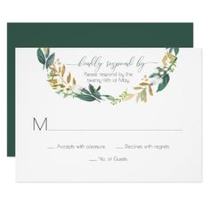 Rustic Green and Gold Leaves Wreath RSVP | Card - wedding invitations cards custom invitation card design marriage party