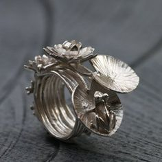 "Ring | Aline Kokinopouos.  ""The dream of the frog"".  Sterling silver"