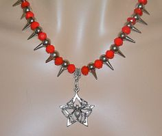 Red Goth Spider and Spike Necklace and Earrings by Ricksiconics, $28.00