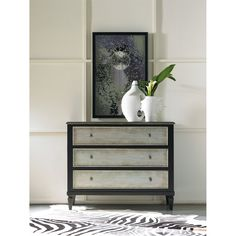 Hooker Furniture 5051-85122 Two Tone Aluminum Wrap Three Drawer Chest in Black