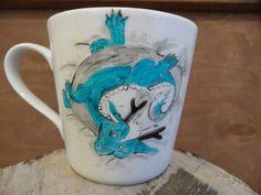 RĘCZNIE MALOWANY KUBEK - SMOCZEK Mugs, Tableware, Art, Art Background, Dinnerware, Tumblers, Tablewares, Kunst, Mug
