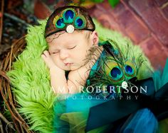 PEACOCK NOIRE - Gorgeous Luxe Top and Headband - Newborn - 18 months. $34.95, via Etsy.