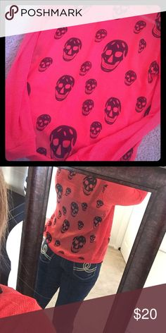 Skull Cardigan Bright red skull cardigan. Never worn. Size Medium Love Culture Sweaters Cardigans