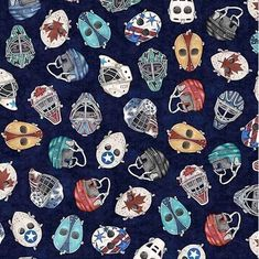 Face Off Hockey Helmets and Masks Dark Blue Cotton Fabric