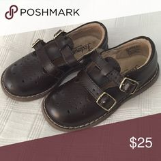 Footnotes Brown Leather Girls Shoes Dark brown leather double buckle shoe. Great for back to school. FootMates Shoes Dress Shoes
