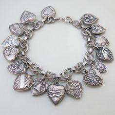 Vtg 1940's Art Deco Sterling Silver Repousse Puffy Heart Charm Bracelet