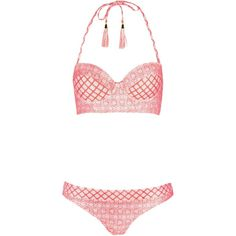TOPSHOP Tea Tile Longline Bikini Set (€56) ❤ liked on Polyvore featuring swimwear, bikinis, coral, long line bikini top, coral bikini, coral bikini top, swim tops and beach bikini
