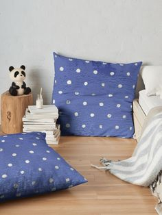 """Velvet Blue Polka Dots Silver Foil"" Floor Pillow by MYSTIQU3 