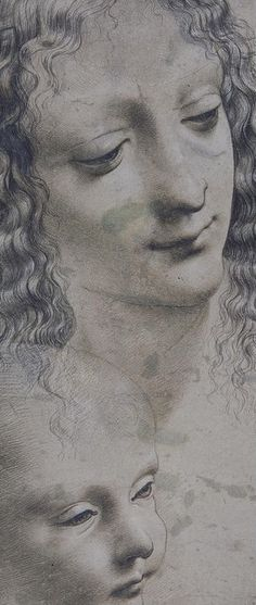 The head of a woman and a baby, drawing by Leonardo da Vinci