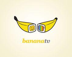 banana tv - by amir Clever Logo, Creative Logo, Best Logo Design, Graphic Design Branding, Typography Logo, Logo Branding, Banana Design, Logo Inspiration, Logo Tv