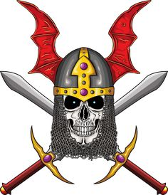 Illustration of warrior undead skull  with fantastic medieval helmet and two swords.