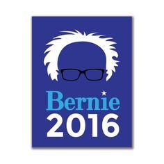 Election 2016 Bernie Sanders Hair Minimalist Royal 4x3in. Rectangular Sticker