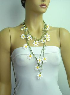 Collar de Margarita Margarita blanca Crochet lace por istanbuloya