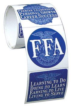 FFA mission, emblem and motto sticker roll. www.ffa.org/shop