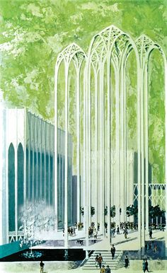 Original concept illustration of the Pacific Science Center from the 1962 Worlds Fair in Seattle | Source: World's Fair promotional brochure and Earle Duff