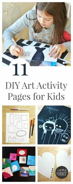 Encourage kids' creativity with 11 DIY art activity pages that can be created on the fly, using materials you have, and customized to the child's interests.    #autumnactivities #thanksgivingactivities #kidsart #drawingideas #kidsactivities #artfulparent