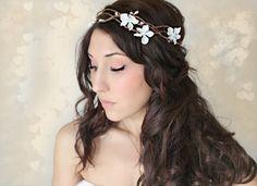 Woodland Flower Crown, Fairy Wedding, White Tiara, wedding accessory, bridal headpiece, flower girl - MARYL -. $65.00, via Etsy.