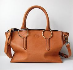 d211e0253e8e Tan Leather Satchel No. 8. Handstitched Tan Leather Handbag with antique  brass hardware.