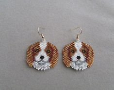 Beaded Snow Retreiver Earrings by DsBeadedCrochetedEtc on Etsy