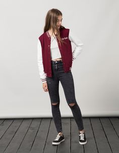 BSK patch baseball jacket. Discover this and many more items in Bershka with new products every week