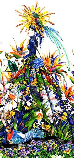 L'illustration de Sunny Gu illustratrice-graphiste basée à Los Angeles a été inspirée par Alice + Olivia collection automne 2013. Voir Ralph Lauren : http://2.bp.blogspot.com/-nD46aTmUfcE/UVvpqNkWMcI/AAAAAAAACnE/8KTULpM_uXs/s1600/sunnygu_bikegirl_ralphlauren_detail.jpg
