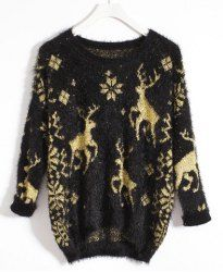 $17.83 Vintage Round Collar Gold Thread Deer Pattern 3/4 Sleeves Sweater For Women