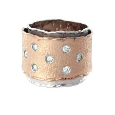 Rose gold, white gold and diamond ring from Shimansky. #Jewellery