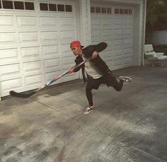 Justin playing hockey