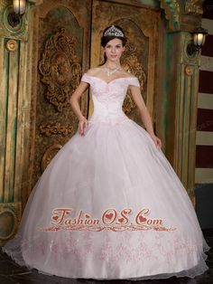 Modest Light Pink Quinceanera Dress Off The Shoulder Appliques Organza Ball Gown  http://www.fashionos.com  Get a celebrity look for less with this stunning off the shoulder baby pink ball gown dress. Perfect for homecoming, quinceanera, or any formal occasion in this elegant ball gown dress featured with off the shoulder design in a lovely floral printed fabric with dazzling beadwork and romantic draped skirt.