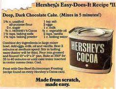 Hershey ' s Deep Dark Chocolate Cake Hershey Chocolate Cakes, Hershey Cocoa, Dark Chocolate Cakes, Chocolate Desserts, Chocolate Heaven, Hershey Recipes, Cocoa Recipes, Cake Recipes, Dessert Recipes