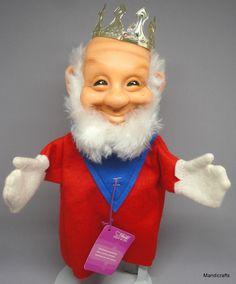 #Steiff Gnome #King Felt & Dralon Plush Hand #Puppet 17 cm Hang Tag 1970s Vintage