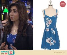 The Mother's blue floral dress on How I Met Your Mother.  Outfit Details: http://wornontv.net/29876/ #HIMYM
