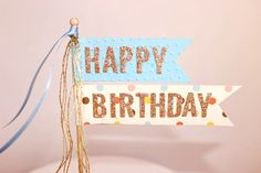Happy Birthday Cake Topper/Cake Poke. Blue or Pink. Gold Glitter - Birthday Announcement. by ConfettiCreationsAus on Etsy https://www.etsy.com/listing/201797207/happy-birthday-cake-toppercake-poke-blue
