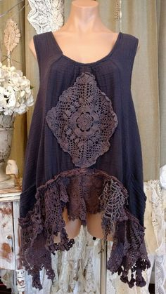 Up-cycled Purple Cotton Vintage Lace Crochet Sleeveless XL Top Tunic Boho tmyers #UpcycledbyTraciMyersMe #Tunic #Summer