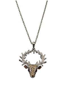 Andrew Hamilton Crawford Reindeer Necklace In Silver