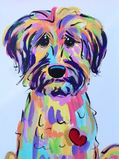 Dog Art / Dog Painting / Dog Portrait / Whimsical Dog / Custom Painting / Vibrant / Debby Carman /  Faux Paw Productions by FauxPawProductions on Etsy #DogPainting