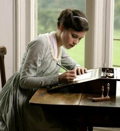 Felicity Jones as Catherine Morland in Northanger Abbey (2007).