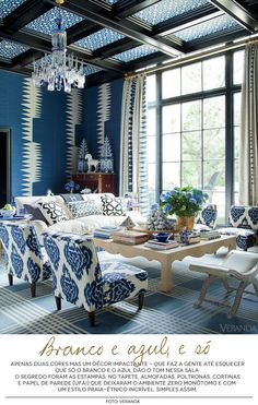 Love the blue chairs but also the combination and layout of different seating…