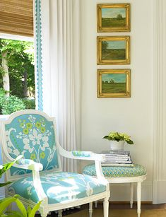 """this is my style ala carte to the """"T"""".love the little paintings with the modern, cottage colors"""