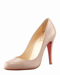 X1K6T Christian Louboutin Decollete Jazz Red Sole Pump, Nude