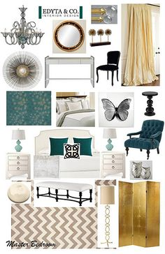 Bedroom Design by EDYTA Interior Design. Modern, Luxury bedroom, Turquoise, cream, white, gold, black. Glamorous. www.edytaandco.com