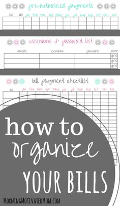 How to Organize Your Bills. Here is my quick and simple system. I have included 3 free printables for you. Bill Payment Checklist, Pre-Authorized Payments List, and Username and Password List Financial Planning Financial Organization, Bill Organization, Organizing Life, Printable Organization, Organization Ideas, Organizing Paperwork, Budgeting Finances, Budgeting Tips, Bill Payment Checklist
