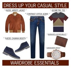 """""""Rugged Rascal - Dress Up Your Casual Style"""" by latoyacl ❤ liked on Polyvore featuring Golden Bear, Emporio Armani, Valentino, True Religion, Brimarts, mens, men, men's wear, mens wear and male"""