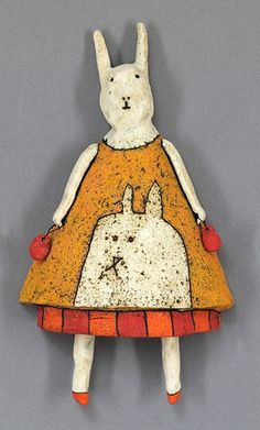 clay ceramic sculpture animal by sara  This mamma bunny is so sweet looking.  K.W.